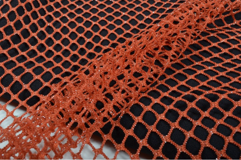 Maille filet stretch rouille